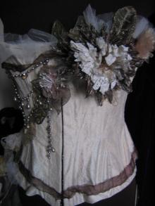 Ivory silk dupion with handmade fabric flowers