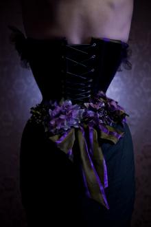 Purple velvet & vintage taffeta stripe